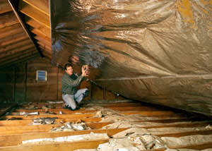 A radiant barrier installed in a Glen Burnie attic