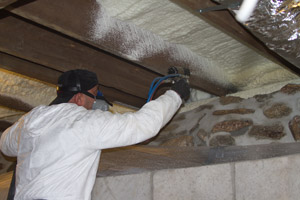 Spray Foam in the crawl space in Ellicott City